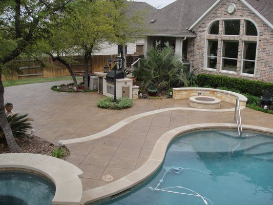 San antonio stamped concrete pool decks and more for Pool deck ideas made from concrete